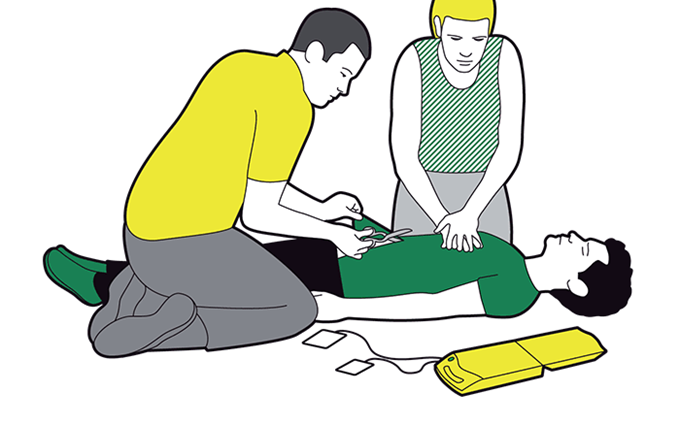 Using a defibrillator - switch it on and remove clothing