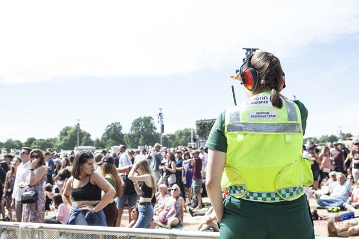 SJA Medical Response Team volunteer overlooks crowds at British Summertime event