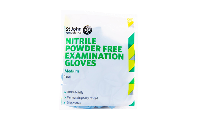 Medium Blue St John Ambulance Nitrile Powder-Free Gloves Medium Blue St John Ambulance Nitrile Powder-Free Gloves