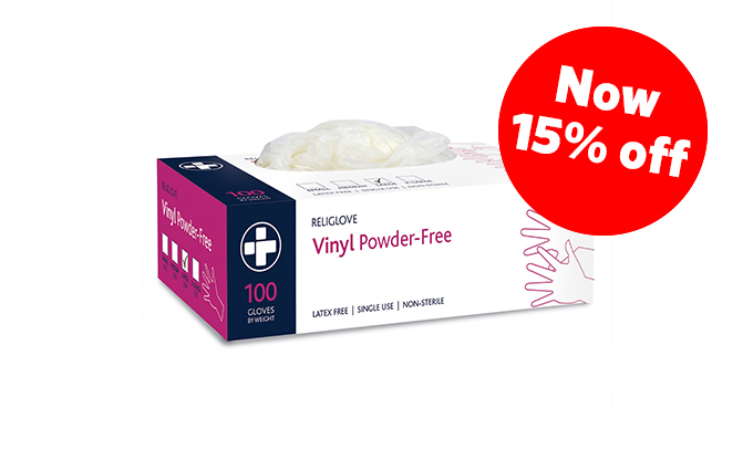 Box of 100 Large Vinyl Powder-Free Gloves